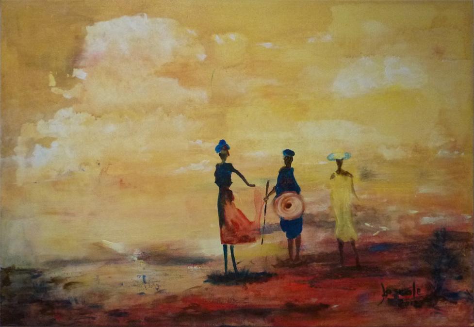 tableau desert silhouettes